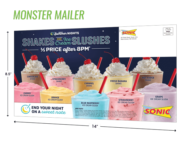 Quick Serve Restaurant Direct Marketing Piece Example The Monster Mailer