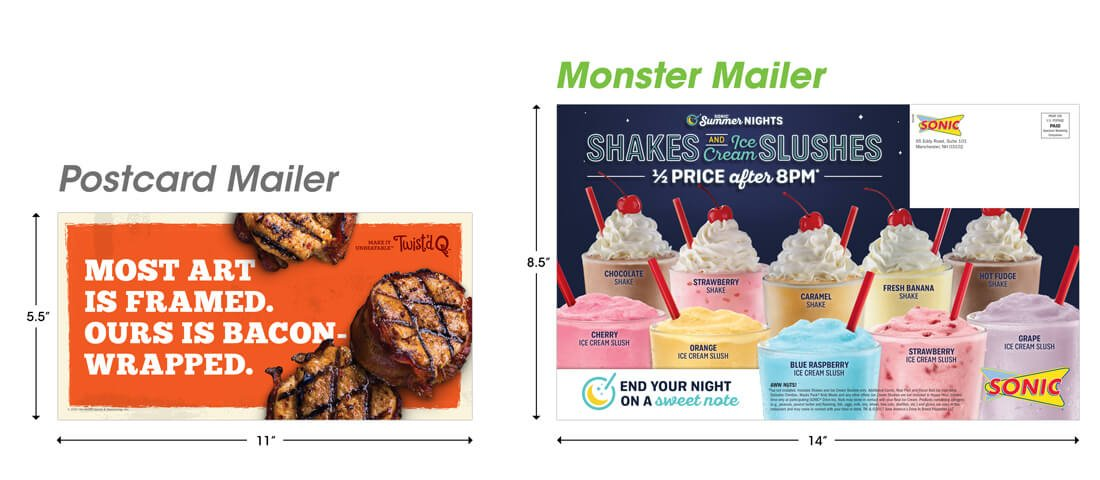 Monster Mailer versus Postcard Mailer Horizontal